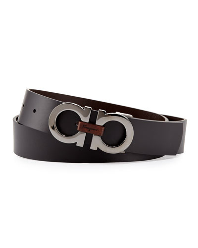 Salvatore Ferragamo Reversible Double-Gancini Belt, Black/Brown