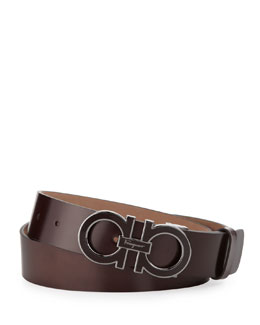 Salvatore Ferragamo Enamel Double-Gancini-Buckle Belt, Brown