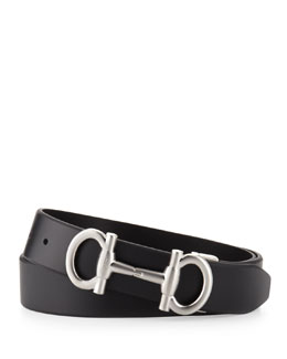 Salvatore Ferragamo Double Gancini Calfskin Belt, Black