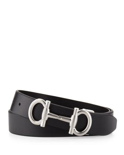 Double Gancini Calfskin Belt, Black