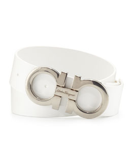 Salvatore Ferragamo Men's Double-Gancini Calfskin Belt, White