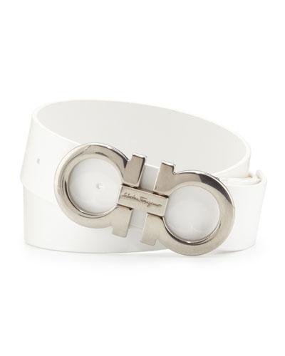 Salvatore Ferragamo Men's Double-Gancini Calfskin Belt, White