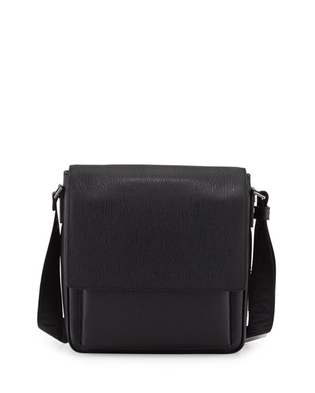 Salvatore Ferragamo Revival Leather Men's Messenger Bag, Black
