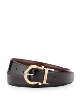 Salvatore Ferragamo 4-In-1 Reversible Gancini Belt, Black/Brown
