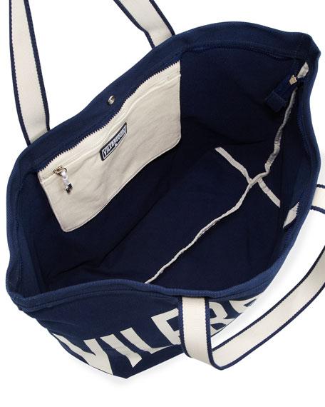 Men's Logo Canvas Tote Bag, Navy