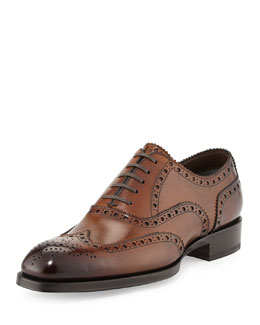 Tom Ford Edward Wing-Tip Oxford, Caramel