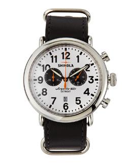 Shinola 47mm Runwell Chronograph Men's Watch, White/Black