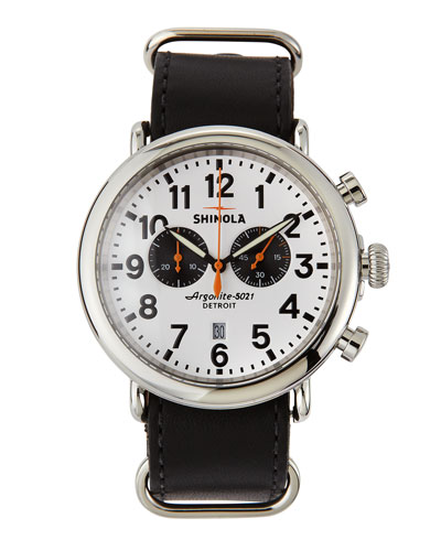 Shinola 47mm Runwell Chronograph Men's Watch, White/Black
