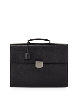 Salvatore Ferragamo Revival Gusset Briefcase, Black