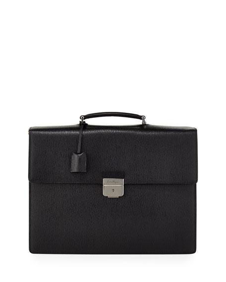 Salvatore Ferragamo Revival Gusset Briefcase, Black