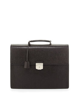 Salvatore Ferragamo Revival Double-Gusset Briefcase, Light Brown