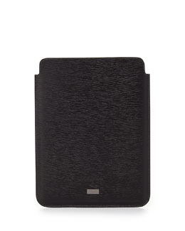 Salvatore Ferragamo Revival Leather iPad Case, Black