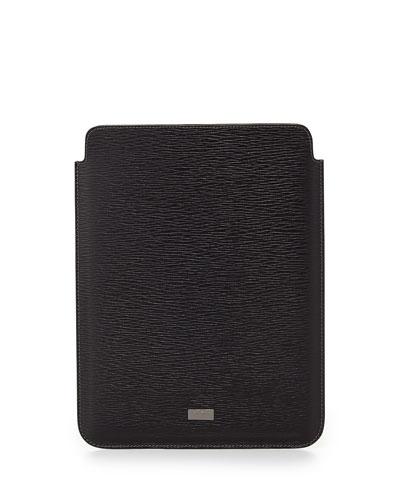 Salvatore Ferragamo Revival Leather iPad Case, Black