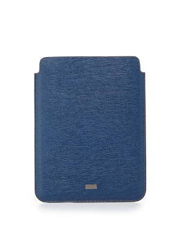 Salvatore Ferragamo Revival Leather iPad Case, Light Blue