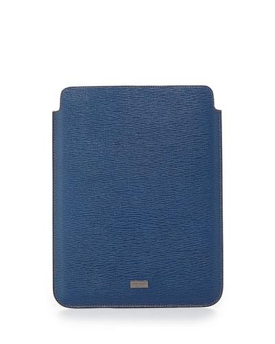 Salvatore Ferragamo Revival Leather iPad Case, Light Blue