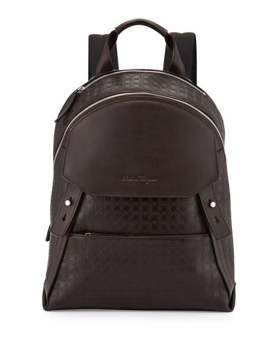 Salvatore Ferragamo Gamma Men's Soft Backpack, Dark Brown