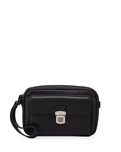 Salvatore Ferragamo Gamma Soft Leather Toiletry Bag, Back