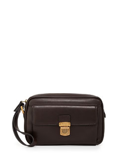 Salvatore Ferragamo Men's New Boston Zip Pouch, Brown