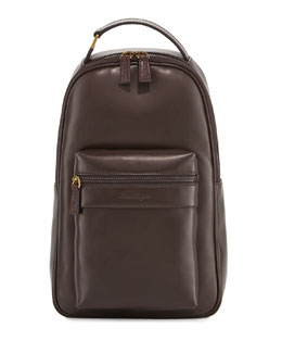 Salvatore Ferragamo New Boston Leather Backpack, Brown