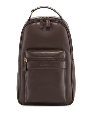 Salvatore Ferragamo New Boston Leather Backpack, Brown