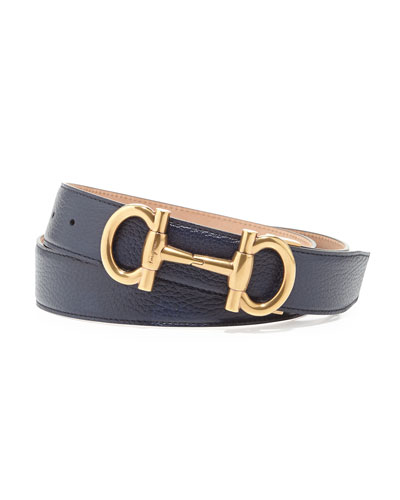 Salvatore Ferragamo Parigi Golden-Buckle Pebbled Leather Belt, Navy