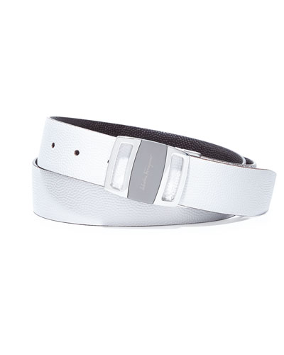 Salvatore Ferragamo Sardegna Reversible Vara-Buckle Belt, White/Chocolate