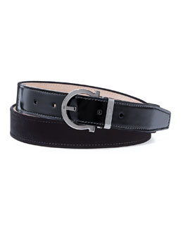 Salvatore Ferragamo Formal Velvet Party Belt, Black
