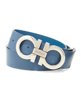 Salvatore Ferragamo Double Gancini Leather Belt, Light Blue