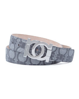 Salvatore Ferragamo Linking Gancini Buckle Logo-Print Belt, Black/Gray