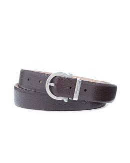 Salvatore Ferragamo Pierre Pebbled Gancio Belt, Dark Brown