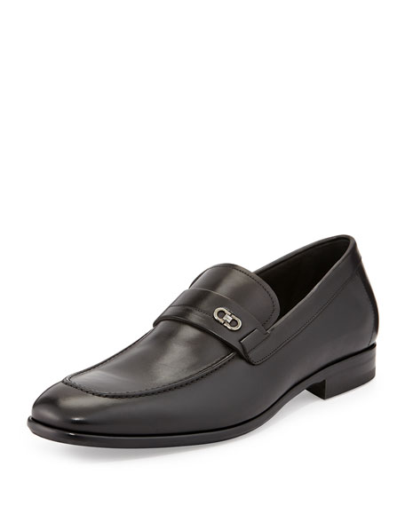 Calfskin Loafer with Double Gancini Side Ornament, Black