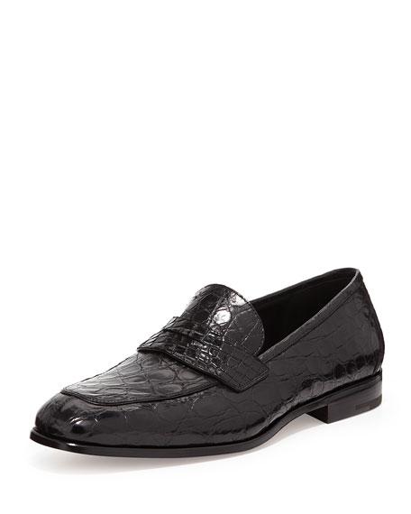 Crocodile Penny Loafer, Black