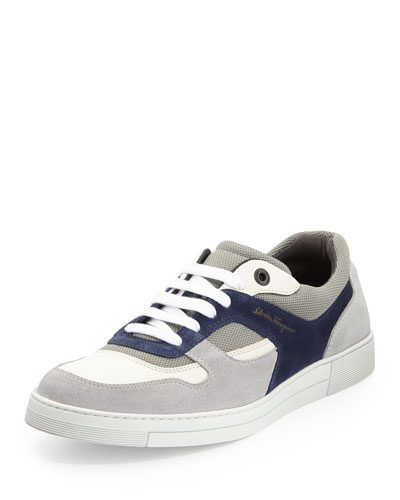 Salvatore Ferragamo Rey Suede/Leather Low-Top Sneaker, Gray/White