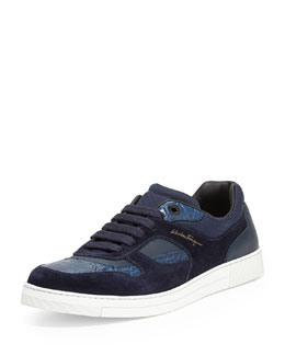 Salvatore Ferragamo Rey 2 Suede & Crocodile Low-Top Sneaker, Blue