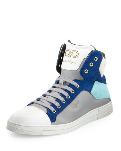 Salvatore Ferragamo Stephen Calf-Hair High-Top Sneaker, Blue