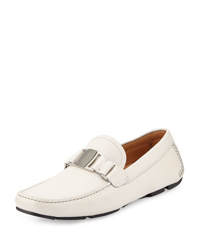 Salvatore Ferragamo Sardenga Pebbled Leather Driver, White