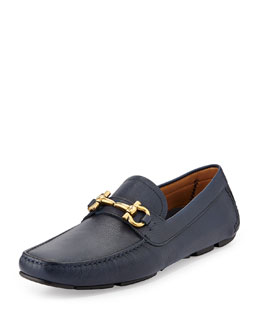 Salvatore Ferragamo Parigi Pebbled Leather Driver, Navy