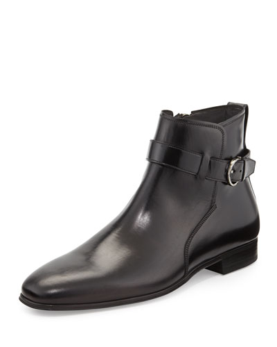 Salvatore Ferragamo Patriot Boot with Buckle, Black
