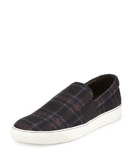 Lanvin Plaid-Wool Slip-On Sneaker, Blue Multi