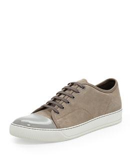 Lanvin Suede Cap-Toe Low-Top Sneaker