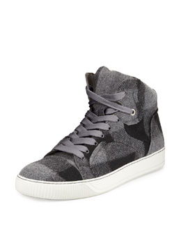 Lanvin Plaid-Wool High-Top Sneaker, Gray Multi
