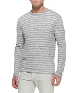 Vince Striped Long-Sleeve Linen Tee, Light Gray