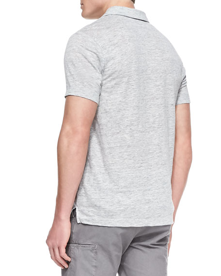 Linen-Knit Polo Shirt, Gray