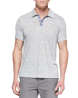 Vince Linen-Knit Polo Shirt, Gray