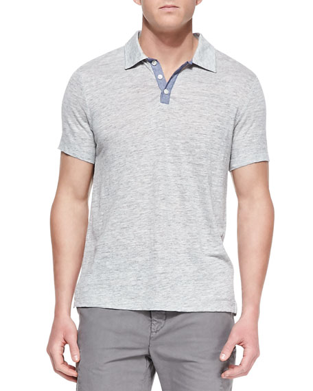 Linen-Knit Polo Shirt, Gray