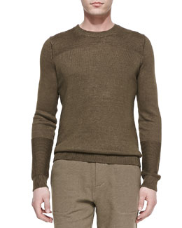 Vince Cotton-Knit Crewneck Sweater, Light Olive