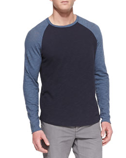 Vince Slub Long-Sleeve Baseball Tee, Navy