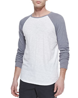 Vince Slub Long-Sleeve Baseball Tee, White/Gray
