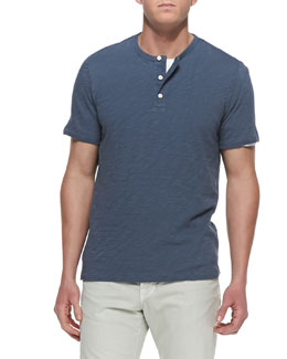 Vince Slub Short-Sleeve Henley, Light Blue