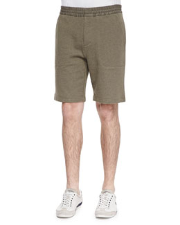 Vince French-Terry Sweat Shorts, Moss